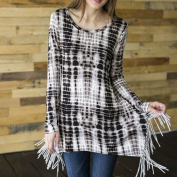 Long Sleeve Fringe Top With Unique Pattern