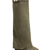 Givenchy - Shark Lock Suede Knee-High Wedge Boots - Saks Fifth Avenue Mobile