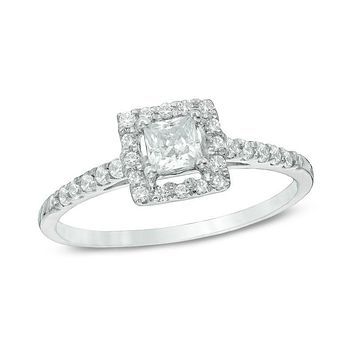 1/2 CT. T.W. Princess-Cut Diamond Frame Engagement Ring in 14K White Gold