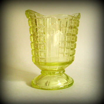 Vintage Depression Vaseline Glass Small Pedestal Dish or Vase