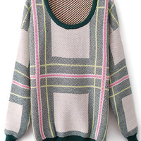 Pink Round Neck Long Sleeve Striped Loose Sweater - Sheinside.com