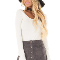Charcoal Corduroy Mini Skirt
