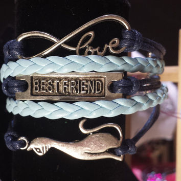 Navy & Baby Blue/Infinity love/Best Friend/Cat Bracelet