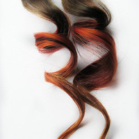 Human Hair Extension, Spring extension hair, hair extension, brown, orange, red, clip in hair, Tie Dye Colored Hair - Sparks