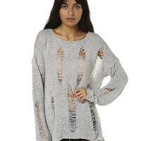SWELL TORE UP RIPPED SWEATER - HEATHERGRY