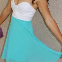 Lace Bustier 'Diana' Dress (White/Teal)