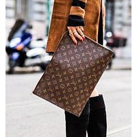 LV Selling Business Documents Handbags Fashionable Men and Women Briefcases LV pattern coffee