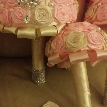 Pink Ivory Wedding Bouquet Collection