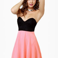 Ta-ra-ra Bustier! Black and Peach Dress