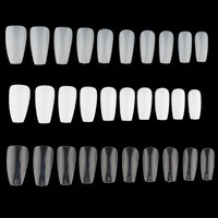 100/600Pcs Women Fashion Long Ballerina Coffin Shape Full Cover False Fake Nails DIY Nail Art Tips New