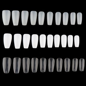 100/600Pcs Long False Ballerina Nails Coffin Shape Full Cover False Fake Nails DIY Nail Art Tips