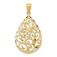 14k Yellow Gold Textured Filigree Teardrop Pendant