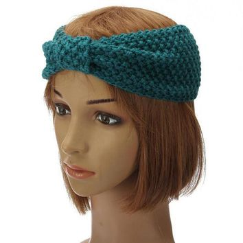 1pc New Fashion Women Lady Crochet Bow Turban Knitted Head Wrap Hair Band Ear Warmer Headband