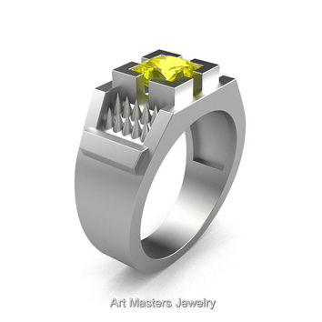 Mens Avant Garde 14K Matte White Gold 1.5 Ct Princess Cut Yellow Sapphire Thorn Ring R583-14KMWGYS