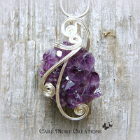Purple Amethyst Crystal Cluster Wire Wrapped Pendant Necklace in Silver