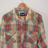 Vintage Wrangler Western Wear Pearl Snap Plaid Shirt - Men's 36 Tall
