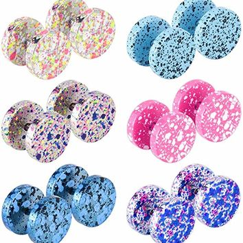 16G Assorted Color Stainless Steel Stud Earrings for Men Women Fake Ear Plug Tunnel Piercing Jewelry 6 pair