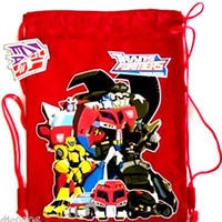 DISNEY TRANSFORMERS ANIMATED RED DRAWSTRING BAG BACKPACK TRAVEL STRING TOTE-NEW!