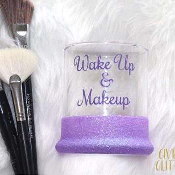 Wake Up & Makeup / Glitter Dipped Makeup Brush Holder