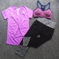 3 pcs women yoga clothes Sets super stretch T-Shirts & Pants+ Running sports bars suits GYM running Fitness Sportswear