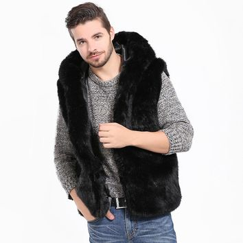 Men Faux Fur Vest Jacket Sleeveless Winter Body Warm Coat Hooded Waistcoat Gilet    8.28