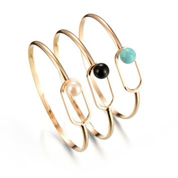 New Arrival Gift Hot Sale Shiny Great Deal Awesome Vintage Simple Design Turquoise Bangle Korean Stylish Pearls Ring Jewelry Bracelet [8581962439]
