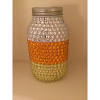 Candy Corn Striped Jar with Rhinestones
