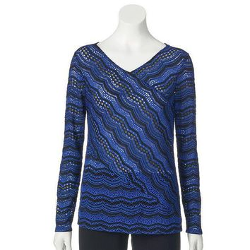 ESB7GX Dana Buchman Pieced Lace Top - Women's Size