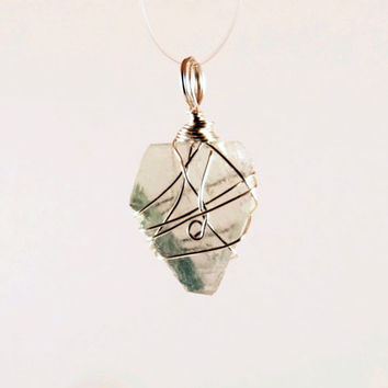 Genuine Fluorite Sterling Silver Wire Wrapped Small Pendant