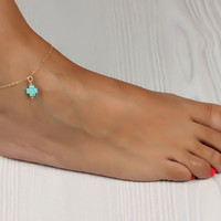 """Cross anklet, Turquoise anklet, cross ankle bracelet, gold anklet, turquoise bracelet, gold ankle bracelet, turquoise jewelry, """"Thetis"""""""