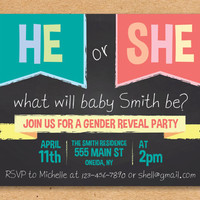 He or She What What Will it Be? Gender Reveal Party Invitation, Boy or Girl Gender Reveal Party, Baby Shower, Printable Invitation 5x7""