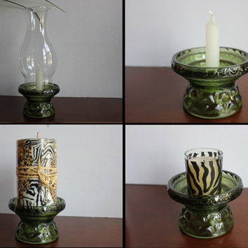 Green Depression Glass Fairy Lamp Hurricane Globe Candle Holder Multi-Use Base, Taper & Pillar Candle, Vintage