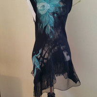 Nuno Felted Sleeveless Tunic In Black and Teal Silk and Merino Wool. Unique Felted Wearable Art Clothing. Floral Sleeveless Boho Blouse.
