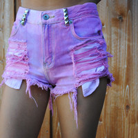 Cotton Candy Highwaisted Shorts by CarlynsCutoffs on Etsy
