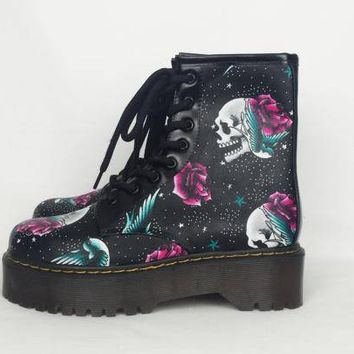 Skull boots, tattoo shoes, women boots, custom shoes, goth shoes, gothic, punk, steampunk, rockabilly, alternative, pinup girl, unique shoes