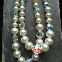 Vintage Marvella Double Strand Pearls Aurora Borealis Beads Wedding Accessories Jewelry Necklace For Her Women Ornate Choker