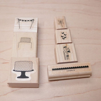Stampin Up Make a Cake Wood Block Stamp Set of 7