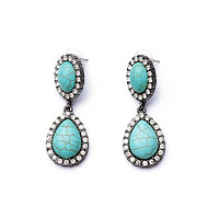 Turquoise Color Glam Earrings