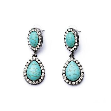 Turquoise Color Gem Earrings