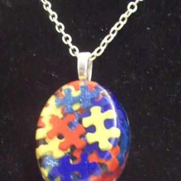 Autism Awareness Puzzle Piece Resin Pendant Necklace, Autism Jewelry OOAK