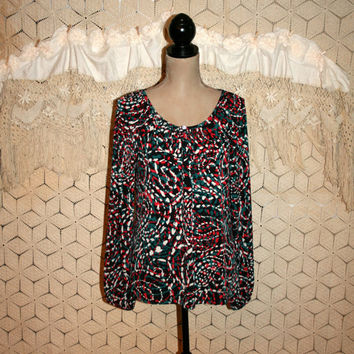Long Sleeve Tops Hippie Abstract Print Blouse Tunic Peasant Blouse Boho Top Knit Top Scoop Neck Red Green Black Medium Large Womens Clothing