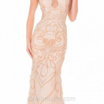 Embellished Scroll Design Prom Gown by Atria