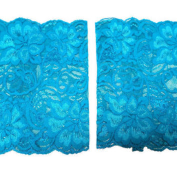 Dark Teal Wide Floral Scalloped Stretch Lace Peek a Boo Boot Cuffs Lacey Boot Cuffs