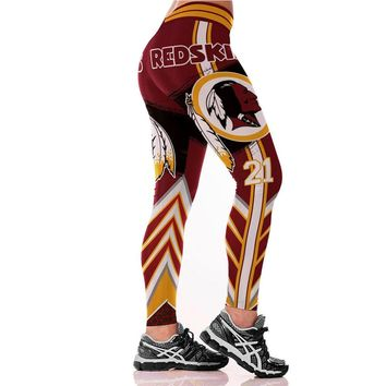 REDSKINS Print Red Leggings Women Leggins Sport Running Push Up Fitness Leggings High Waist Elastic Workout Leggings Gym