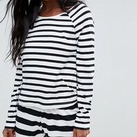 ASOS Black & White Stripe Long Sleeve Long Sleeve Tee & Short Pajama Set at asos.com