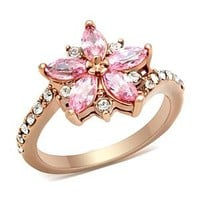 Ion Plated Rose Gold Cubic Zirconia Flower Ring