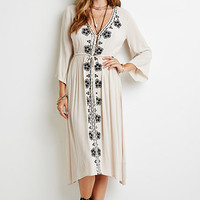 Floral-Embroidered Gauze Dress
