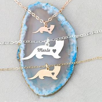 2018 Trendy Ferret Charm Weasel Necklace Personalized Names Or Letters Women Animal Jewelry Best Gift For Friend YP6352