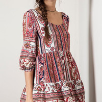 Umgee Flouncy Paisley Mini Peasant Dress - Red Mix