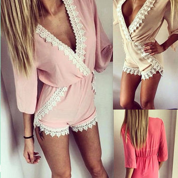 Sexy Lace Cotton Jumpsuit 2016 Young Girls' Deep V Three Quarter Sleeve Short Rompers Plus Size 3 Colors Bodysuit Macacao LX122